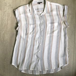 George capped sleeve tan and grey top size large